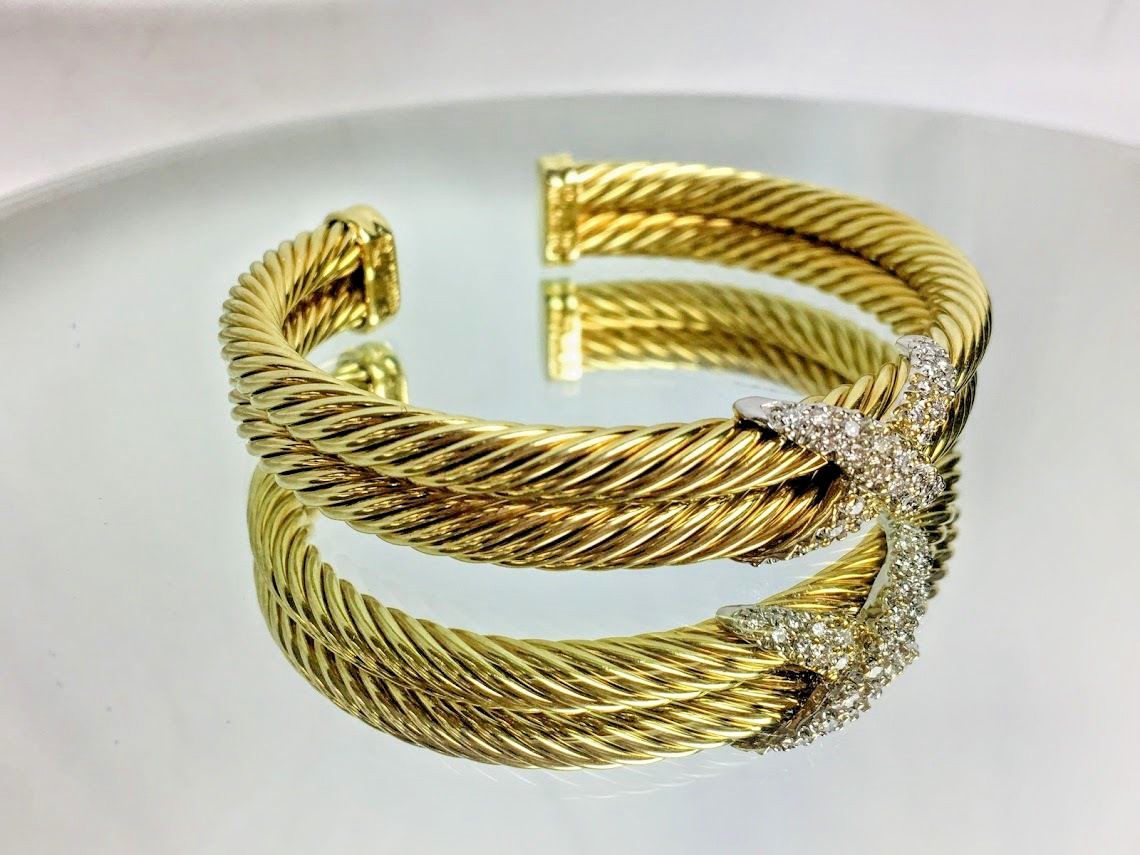 David Yurman 14k Two Tone Gold 1tcw Diamond Double Cable X Bangle Bracelet