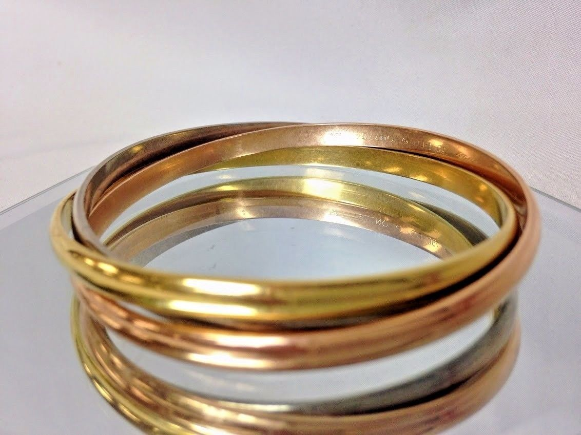 0a7328acbdbb6 Cartier 18k Tri-Color Yellow, White, Rose Gold Trinity Bangle Bracelet